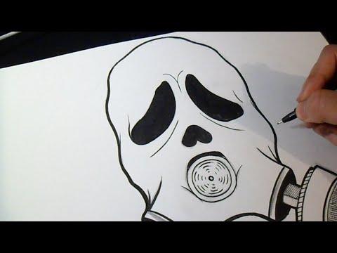 como desenhar máscara anti gás rosto scream youtube