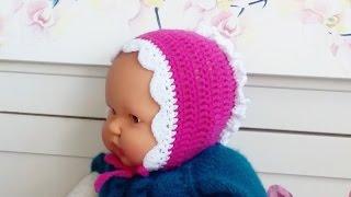 Чепчик крючком для новорожденного_Cap crochet for newborn