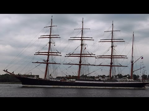 Russian Tall Ships (Sail 2015): Mir + Kruzenshtern + Sedov leaving Amsterdam