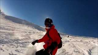 Snowboarding with Stage Ideas goggles and GoScope Extreme