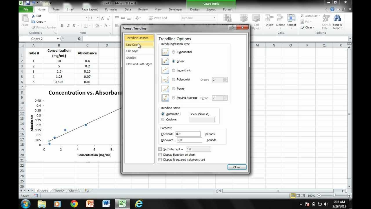 Office Tutorials - Determining the Concentration of an Unknown Sample  (Microsoft Excel 2010)