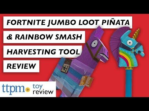 Fortnite Jumbo Loot Llama Pinata & Rainbow Smash Harvesting Tool Review from Jazwares
