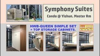 Wall Bed Symphony Suites HWB Queen Simple Set +Top Storage Cabinet.HWB HUB.HDB.BTO.EC
