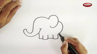 Drawing Step By Step | How to Draw an Elephant | Learn Drawing For Beginners | Drawing Basics Kids