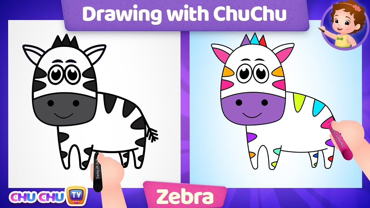 How to Draw a Cute Zebra Step by Step? - Drawing & Coloring Lessons with ChuChu - ChuChu TV