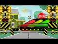 Palang pintu kereta api sibuk banyak kereta lewat - animasi perlintasan kereta api railroad crossing