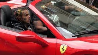 6ix9ine riding in a Ferrari 488 in Milan