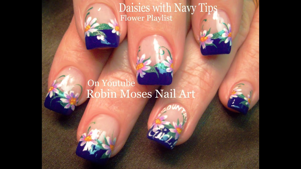 White Daisy On Navy Blue Nails! Cute Flower Nail Art Design Tutorial ...
