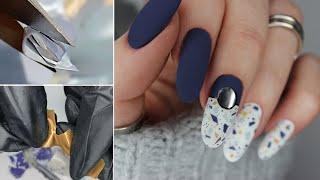 РЕЖУ ЛАК Текстура камня на ногтях Мраморный маникюр Дизайн мозаика Маникюр обычным лаком