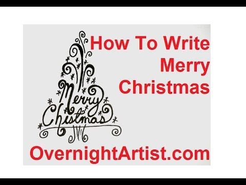 How To Draw A Christmas Tree - Write Merry Christmas - YouTube