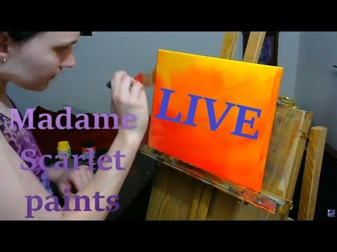 Madame Scarlet Paints LIVE {abstract expressionist oil painting}
