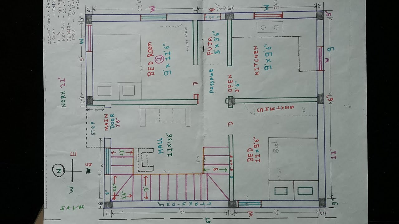 22 × 27 North West House Plan Map Naksha Details