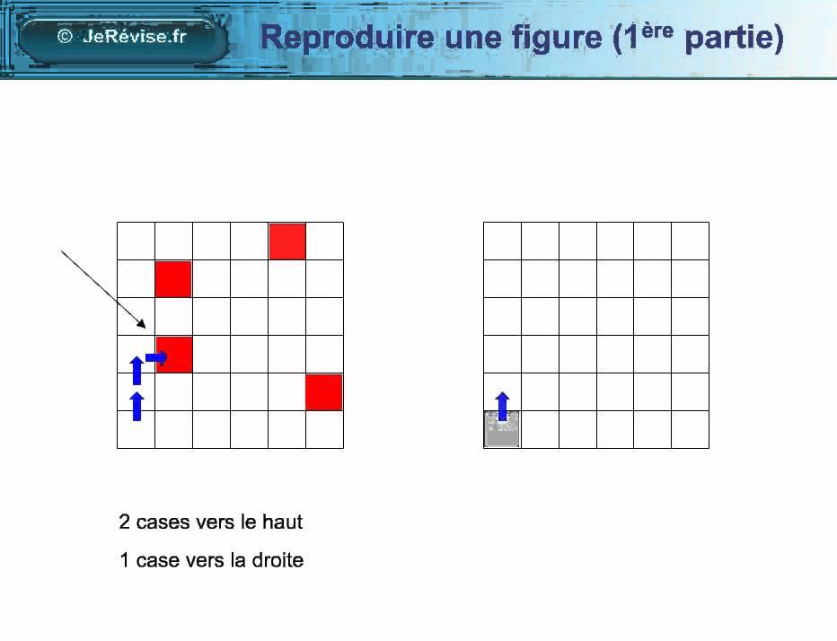 Reproduire une figure sur un quadrillage avec des cases. Géométrie pour le CP, CE1, CE2, CM1 ...