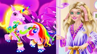 frozen disney kids awesome barbie and unicorn spa therapy compilation princes elsa fun world