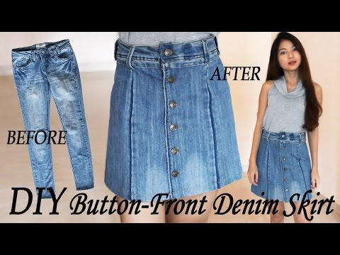 DIY Turn Your Old Jeans Into Skirt   Button Front Denim Skirt from Pants   Clothes Transformation