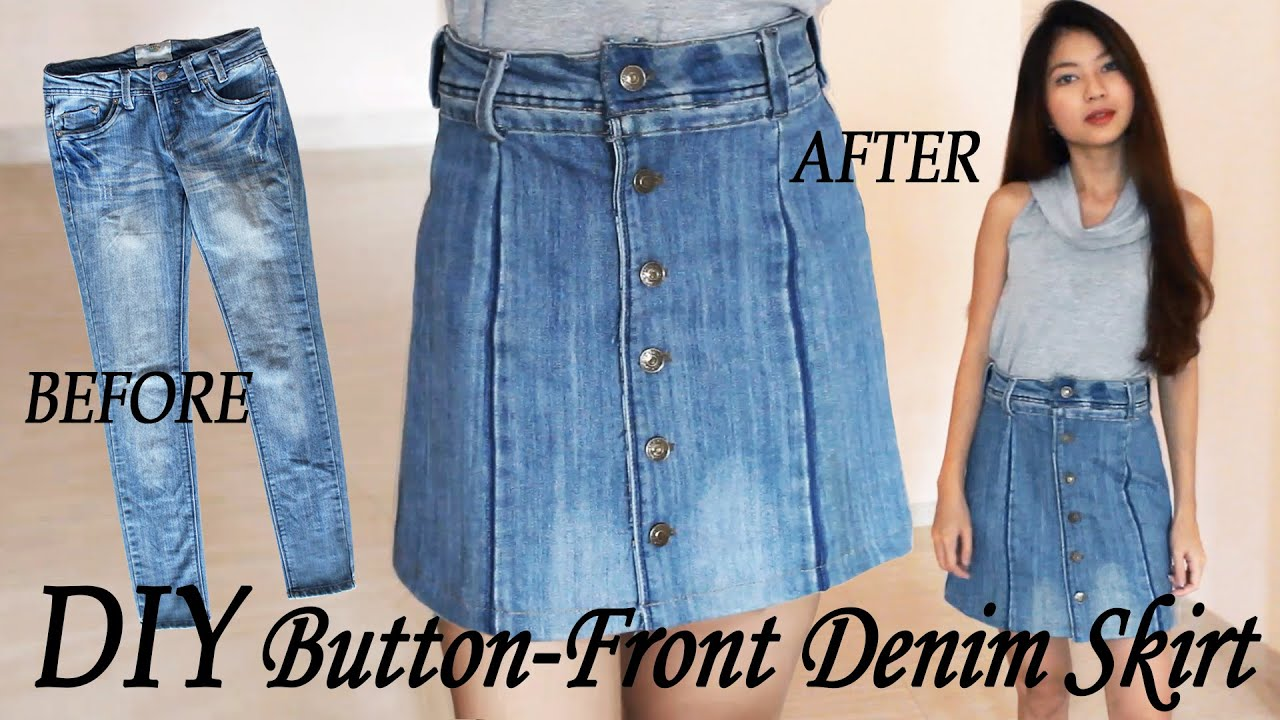 DIY Turn Your Old Jeans Into Skirt | Button Front Denim Skirt from ...