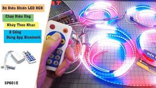 Bộ Điều Khiển LED RGB Chạy Hiệu Ứng Nháy Theo Nhạc 2 Cổng SP601E Dùng App Bluetooth