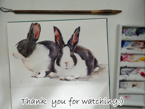 Paint bunnies in watercolor real-time