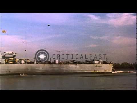 Freighter at dock in Saigon. HD Stock Footage