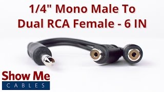 1/4 Inch Mono Male To Dual RCA Female Adapter