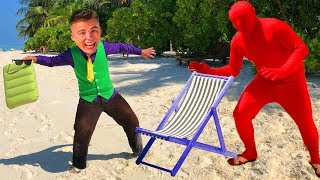 Mr. Joe on Beach in Maldives & Swimming in Ocean VS Red Man found Inflatable Mattress for Kids