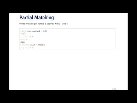 RProg - Subsetting   Partial Matching