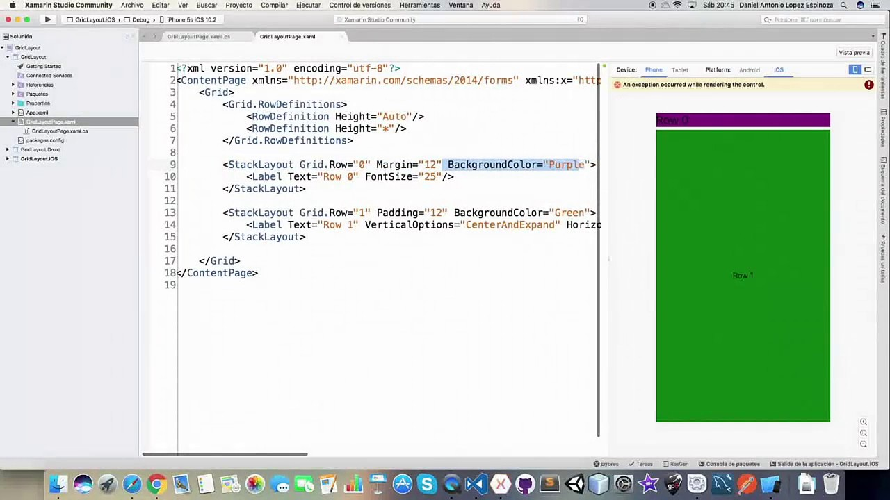 Xamarin Forms #18 Grid Container