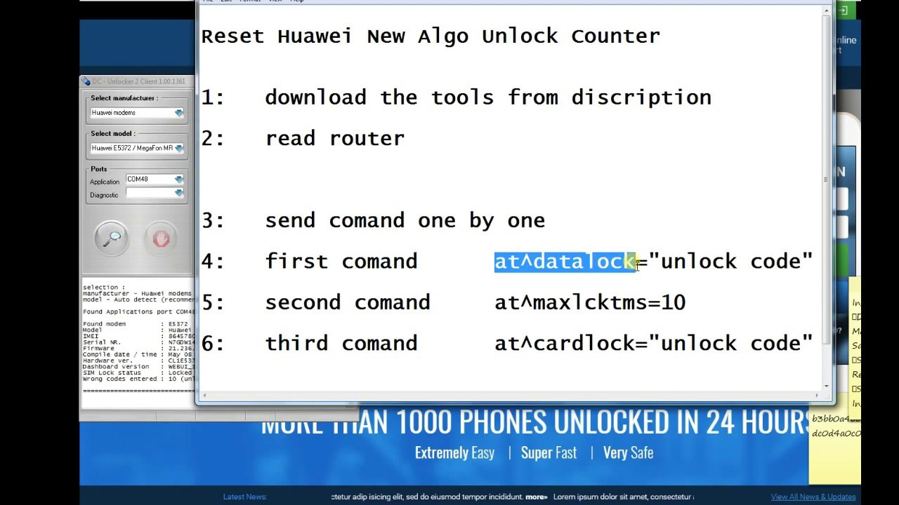 Reset Unlock Code Counter Huawei Routers 2017 (new algo)