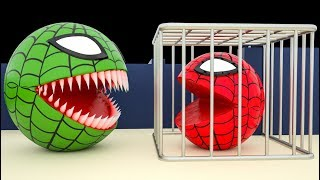 Pacman Spider Vs Red Monster Pacman as he chomps & Fruit on Tree and rolls down a magic slide Part 2