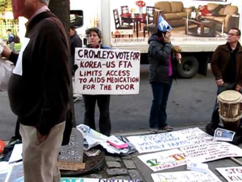 Protest vs. Rep. Crowley's Free Trade Votes @ Town Hall Meeting in Jackson Heights (4/10/12)