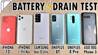 iPhone 12 vs iPhone 11 Pro Max / Note 20 Ultra / OnePlus 8T / 8 Pro / ROG 3 Battery Life DRAIN Test!