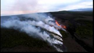 Volcano Eruption HD video Most recent Kilauea Hawaii flow lava river into air Helicopter.flv