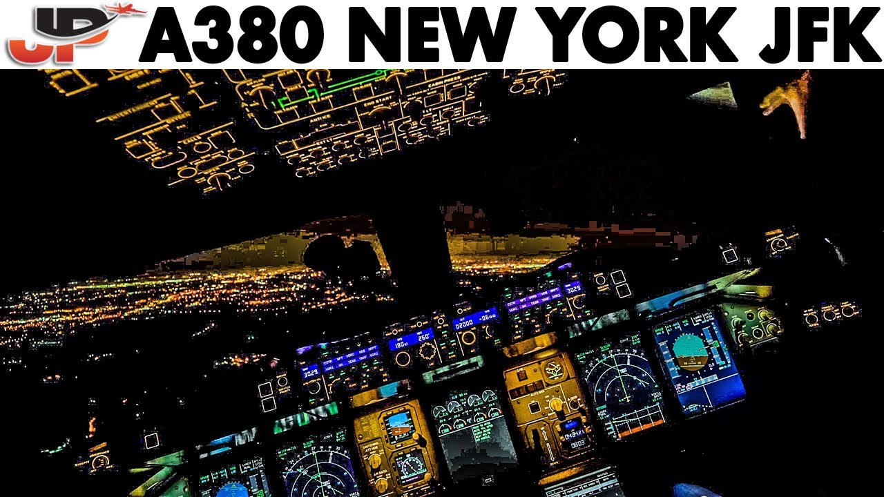 Piloting AIRBUS A380 to New York JFK   Cockpit Views