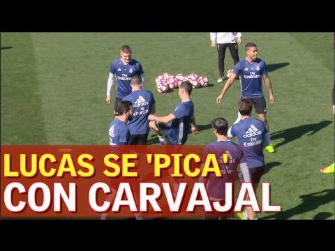'Pique' de Lucas con Carvajal: no eran capaces de coger el balón