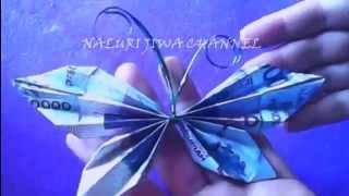 origami uang-cara origami bentuk kupu-kupu-origami money origami means butterfly shape