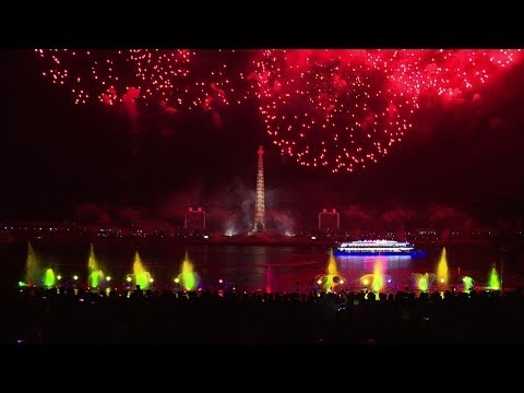 Pyongyang celebrates birth of founder with fireworks display and dance