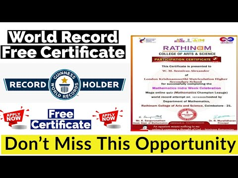 World Record Free Certificate | How to Get World Record Certificate | Free Certificate