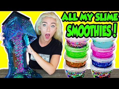 MIXING ALL MY SLIME SMOOTHIES TOGETHER IN A GIANT SLIME SMOOTHIE! + AQUARIUM SLIME   NICOLE SKYES