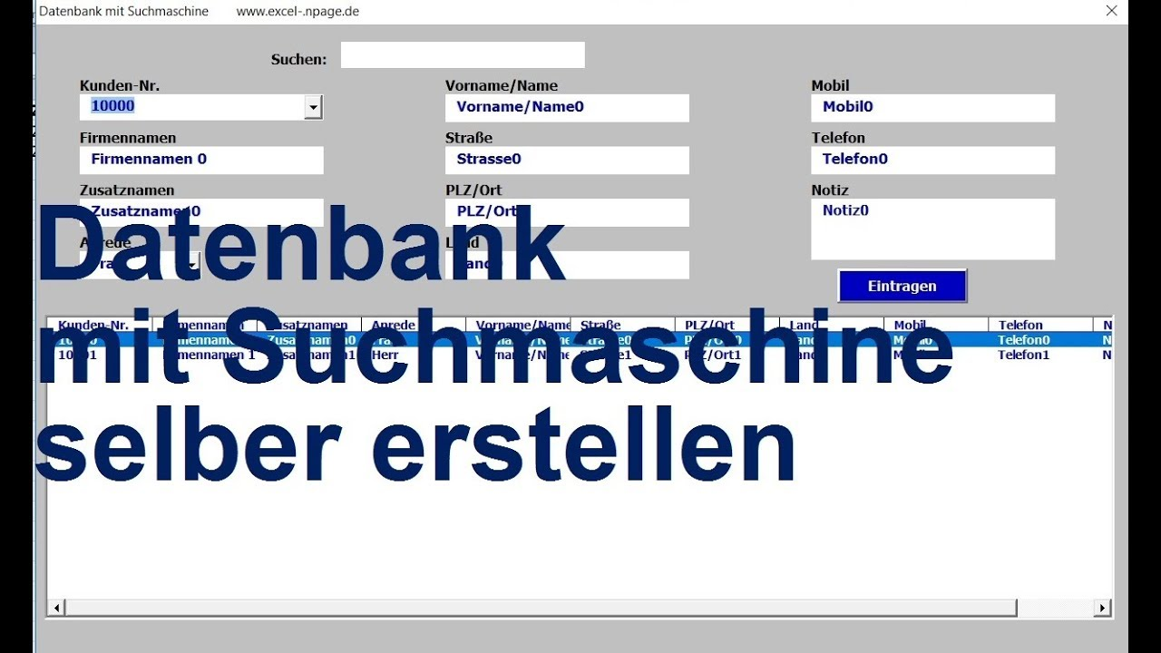 0 Excel VBA Datenbank mit Suchmaschine selber erstellen