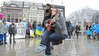 Совместный протест русских и украинцев в Норвегии, против войны!