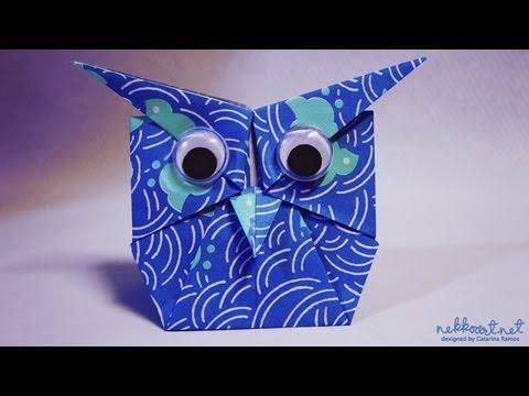 How to Make Paper Origami Owl : 豆入れ箱 折り方 : 折り方