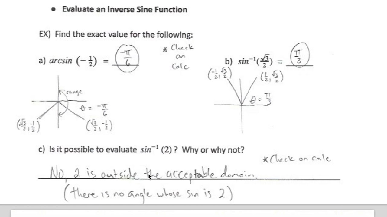 Evaluating Inverse Trig Functions   YouTube