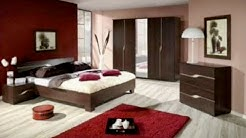 Colour combination bedroom with brown furniture