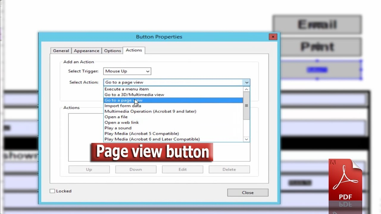 Pdf Tutorial- How To Add A Go To Page View Button In A Pdf Form By Using  Adobe Acrobat Pro 2017