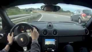 Porsche Cayman on German Autobahn and Country Road
