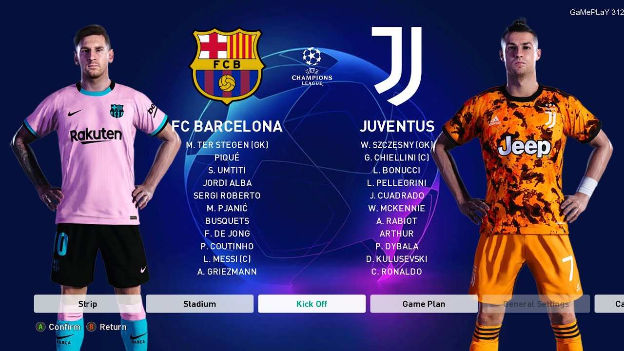Pes 2021 Barcelona Vs Juventus Uefa Champions League Ucl Gameplay Pc Messi Vs Ronaldo Youtube