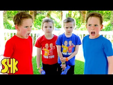 Noah\'s Twin Attacks! Nerf War with Twin Toys