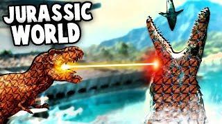 GIANT Mosasaurus vs T Rex in Jurassic World!  (Forts Jurassic Park Mod Gameplay)
