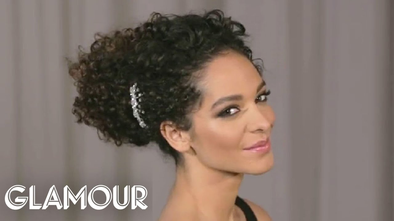 how to do a curly updo in 5 minutes or less—glamour's hey hair genius