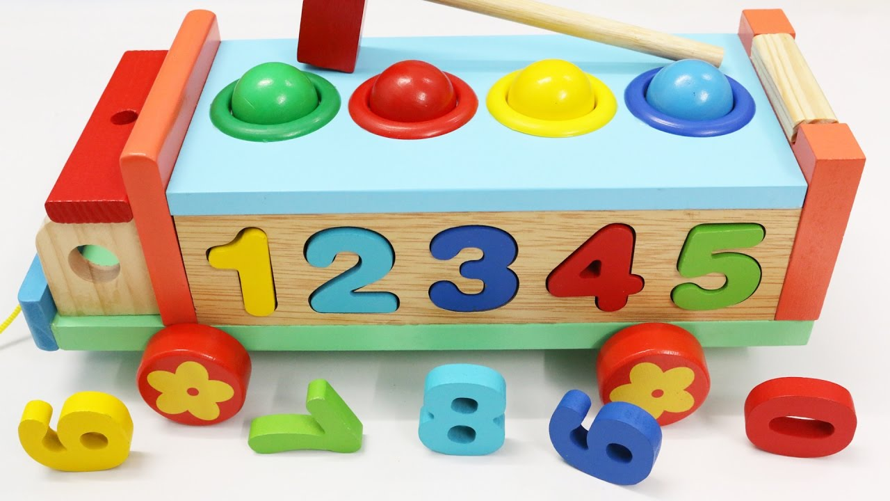 Wooden Toys For Toddlers And Kids : Learn colors numbers with wooden truck hammer balls toys